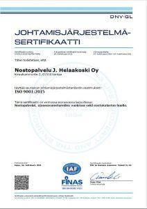 ISO 9001:2015 -certificate to Crane Rental J.Helaakoski Oy