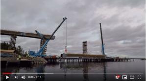 Lifting a heavy bridge section in Sulkava, Finland